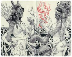 Jared Fiorino. Reap & Replenish. Ink (ballpoint + brush) Moleskine sketchbook.