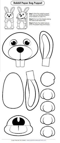 Check out this adorable bunny cut-out for Easter! Make this into a paper bag puppet with your favorite coloring supplies! Check out this adorable bunny cut-out for Easter! Make this into a paper bag puppet with your favorite coloring supplies! Rabbit Crafts, Bunny Crafts, Easter Crafts, Fish Crafts, Diy Paper Bag, Paper Bag Crafts, Easter Art, Easter Bunny, Paper Bag Puppets