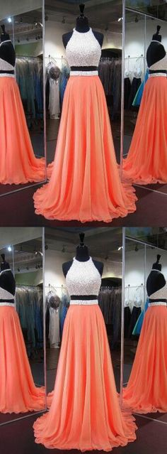 Halter Chiffon Prom Dress, Orange Homecoming Dresses, Crystal