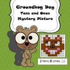Tens and Ones place value mystery picture for Groundhog Day.  Solve then color.