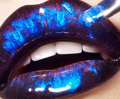 Lips are the most provoking & visible part of our body. Women want to make their lips more fascinating and charming by applying different and stylish lip colors on them. Lip art is an art of making and decorating your … Continue reading → Metallic Lipstick, Lipstick Art, Lip Art, Blue Lipstick, Metalic Lips, Crazy Lipstick, Glitter Lips, Glossy Lips, Blue Glitter