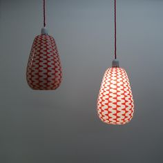 Buy retro Pair of red 1950s glass pendent lights from Mark Parrish Mid Century Modern Furniture, Midcentury Design.