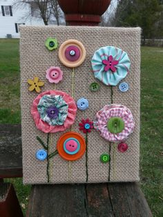 Spring Flowers ~ Fabric & Button Flowers on Burlap Canvas ~ Pastels, Brights ~ Spring Wall Decor ~ Made To Order – Manualidades en tela Button Flowers, Felt Flowers, Diy Flowers, Spring Flowers, Fabric Crafts, Paper Crafts, Diy Crafts, Bead Crafts, Burlap Canvas Art