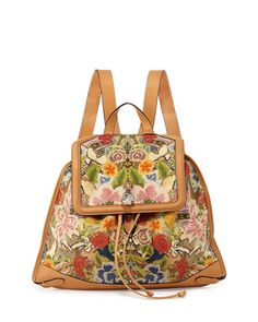 Floral-Print Skull Padlock Backpack by Alexander McQueen at Neiman Marcus.