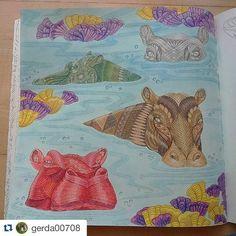 "45 Likes, 1 Comments - Millie Marotta coloridos (@milliemarottabooks) on Instagram: ""Wild savannah!   #Repost @gerda00708 ・・・ Nijlpaarden...#hippo #coloringbook #wildsavannah…"""