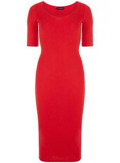 Dorothy Perkins Red 3/4 sleeve tube dress