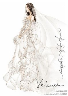 valentino婚纱手稿~赞!