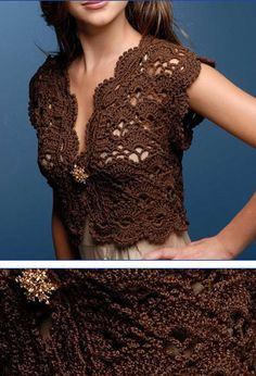 #Bolero Marrom crochet jacket #2dayslook #crochetfashionjacket www.2dayslook.com