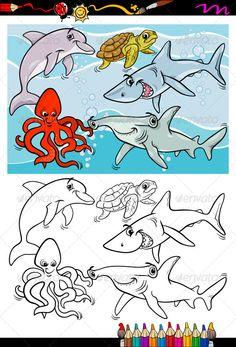 sea life animals cartoon coloring book ...  Dorsal Fin, animals, aquarium, black, book, cartoon, cephalopod, cheerful, coloring, coloring book, comics, creature, cute, dauphin, dolphin, drawing, education, fin, fish, funny, group, hammerhead, hammerhead shark, happy, illustration, mammal, mollusk, nature, ocean, octopus, page, preschool, reptile, sea, sea life, sea turtle, shark, shell, smile, swim, teeth, tortoise, turtle, underwater, vector, water, white, zoo