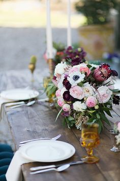 Blush and Burgundy Centerpiece | Charla Storey Photography and Grit + Gold
