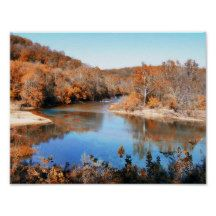 Photo print of Missouri River captured at the surrounding area of Sioux Passage Park in St. Louis County on an autumn day when trees have turned.