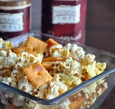 Zesty Snack Mix recipe featuring Tastefully Simple's Fiesta Party Dip Mix and Pomegranate Chipotle Sauce.