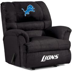 The officially licensed Detroit Lions Big Daddy Recliner features a sturdy engineered hardwood frame, premium foam cushions with hollow-fill fiber, and a Leggett & Platt 3-way reclining mechanism with rocking motion in the sitting position. The recliner is covered in a soft microfiber fabric treated with DuPont for durable stain-resistance. The colorful team logo and name are 'welded' to the fabric by a patented process. Features: Premium 1.8 density/28/LB compression CA 117 foam in seat and…