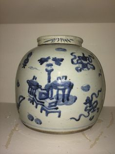 Fabulous Antique Chinese Blue & White Ginger Jar w/Lid, Nice Motif Ginger Jar Lamp, Ginger Jars, Chinese Antiques, Flow, Boxes, Blue And White, Nice, Ebay, Home Decor