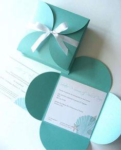 Idee per partecipazioni matrimonio fai da te - Partecipazione nozze in stile scatola di Tiffany