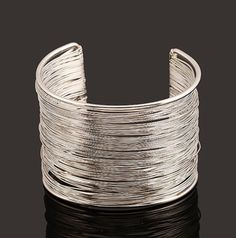 Silvertone Goldtone Rigid Steel Memory Wire Metal Circle Hammered Bunch Cuff Bracelet Bangle (Silver)  5 OUT OF 5 BASED ON 2 CUSTOMER RATINGS