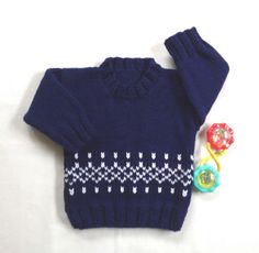 Baby boy sweater with sailboats – 6 to 12 months boy – Baby hand knit navy sweater – Infant sailboat sweater – Baby knits Baby knit sweater – 6 to 12 months – Fair Isle baby knit – Baby clothing – Infant sweater – Baby boy jumper Baby Cardigan, Baby Blue Sweater, Knit Baby Sweaters, Boys Sweaters, Knit Cardigan, Baby Jumper, Baby Boy Knitting, Knitting For Kids, Baby Knits
