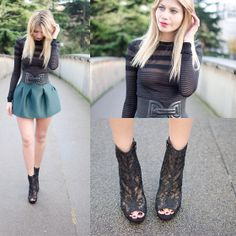 Zara Top, H&M Belt, Sheinside Neoprene Skirt, H&M Heels Boots