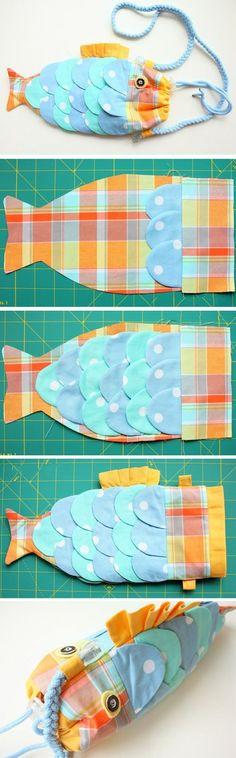 Cute Fish Handbag for Kids. DIY Tutorial in Pictures. http://www.handmadiya.com/2015/10/fish-bag-tutorial.html