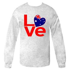 """Great fun for you or your favorite Aussie (which might also be you). Charming image features the word """"LOVE"""" in red lettering, but with a heart shaped Flag of Australia replacing the """"O"""". Also wonderful for those who had an Australian adventure and want to remember their travels. It is always a good gift for someone special on your list at Valentine's Day or any special time. $25.99 http://ink.flagnation.com from your @AuntieShoe"""
