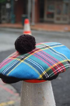 Vintage Plaid Preppy Golf Hat for Men Pom by LittleGhostVintage