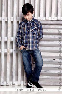 Conjunto Infantil Camisa Manga Longa com Calça Jeans Diforini 100357 Camisas  Manga Longa a4ee519cca8de