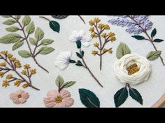 Lilac and cherry blossom. Embroidered Botanical elements for beginners Hand Embroidery Art, Flower Embroidery Designs, Modern Embroidery, Cross Stitch Embroidery, Embroidery Patterns, Embroidery Needles, Art Tutorial, Brazilian Embroidery, Floral
