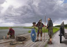 Soldiers on the Rhine, Roman border in the Netherlands, around 100 AD