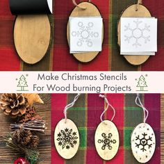 Christmas Stencils, Home Printers, Christmas Ornaments, Holiday Decor, Wood, Projects, How To Make, Inspiration, Home Decor