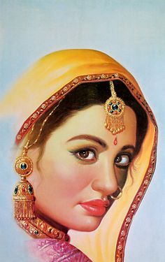 قصص وأشعار رومانسية : Message to . Anonymous name and address! Indian Women Painting, Indian Art Paintings, Indian Artist, Art Sketches, Art Drawings, Rajasthani Painting, Women Poster, Figure Sketching, India Art