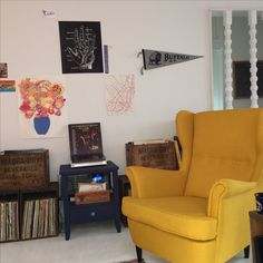 vinyl collection with gallery wall ikea strandmon chair