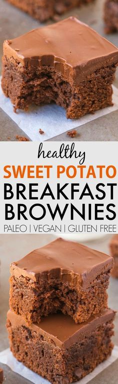 Healthy 5 Ingredient Sweet Potato BREAKFAST Brownies - SUPER fudgy, hearty and LOADED with chocolate goodness, its the filling and satisfying guilt-free breakfast, snack or dessert! Paleo Dessert, Healthy Desserts, Dessert Recipes, Guilt Free Desserts, Healthy Muffins, Sweet Potato Breakfast, Breakfast Potatoes, Vegan Breakfast, Breakfast Casserole
