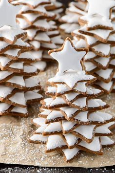 """""""Soft, Snowy Gingerbread Christmas Tree Cookies make a wonderful holiday gift. We take a traditional Christmas cookie and turn it into a fun and magical gift. Not only are the cookies fun to make, they are even more fun to eat. Christmas Tree Food, Gingerbread Christmas Tree, Christmas Tree Cookies, Christmas Cooking, Christmas Goodies, Christmas Desserts, Holiday Treats, Christmas Treats, Gingerbread Cookies"""