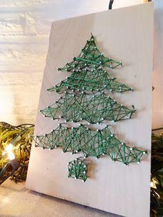 Christmas Tree String Art DIY holiday, christma tree, craft stores, diy christmas tree, christmas trees, christmas earrings, art christma