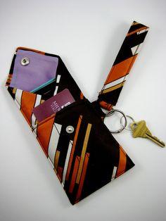 Handmade Necktie Wristlet Wallet Brown Orange White Geometric. $20.00, via Etsy.