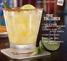 The Tiki Torch summer cocktail recipe: Mix Avión Silver Tequila, triple sec, lime juice, fresh pineapple and chipotle pineapple.