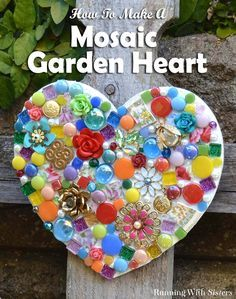 So pretty and colorful! Love this piece for a sweet outdoor garden area. Make a mosaic garden heart using leftover tiles pieces of broken china, and flea market jewels. Making it with silicone means it's one step and no grout! Garden Tiles, Mosaic Garden Art, Mosaic Flower Pots, Mosaic Art, Mosaic Tiles, Concrete Garden, Mosaic Mirrors, Mosaic Stepping Stones, Pebble Mosaic