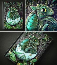 Dragon-Inspired Gift Ideas For The Mothers And Fathers Of Dragons Baby Dragon Journal Polymer Clay Dragon, Polymer Clay Crafts, Notebook Covers, Journal Covers, Polymer Journal, Polymer Clay Sculptures, Dragon Jewelry, Baby Dragon, Magic Book