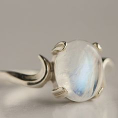 Sterling Silver Moonstone Ring by TobesOutpost on Etsy, $65.00