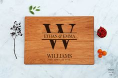 Engagement Couple Gift Unique Monogram Cutting Board Personalized Wedding Present Engraved Custom Last Name Personalized Family Established