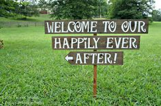 "Welcome To Our Happily Ever After! wedding sign. Wedding sign is hand painted in white on reclaimed wood and comes with one pre-drilled 3' ft. stake. This rustic wedding sign is large, each letter is 4"" and the wood is 5.75-6"" wide. Outdoor Wedding Signs, Wedding Signage, Rustic Wedding Signs, Wedding Ceremony, Woodland Wedding, Wedding 2015, Fall Wedding, Diy Wedding, Perfect Wedding"