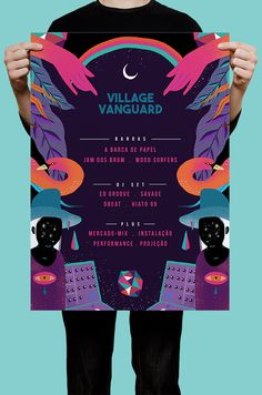 Create a bold poster for a music festival by using this event poster example for inspiration. Use a playful color palette, graphic images & more! Flyer Design, Flugblatt Design, Event Poster Design, Buch Design, Event Posters, Poster Design Inspiration, Graphic Design Posters, Graphic Design Illustration, Game Design