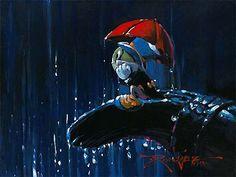 Pinocchio - Red Umbrella - Jiminy Cricket - Original by Rodel Gonzalez presented by World Wide Art Disney Pixar, Disney Sidekicks, Disney Animation, Disney Cartoons, Disney Magic, Walt Disney, Disney Characters, Disney Fine Art, Jiminy Cricket