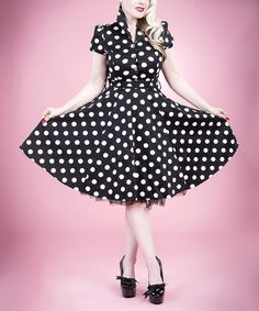 Look at this #zulilyfind! Black & White Polka Dot Button-Up Dress - Women by HEARTS & ROSES LONDON #zulilyfinds