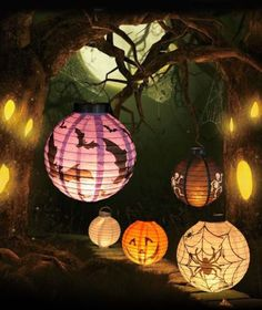 Creative Halloween LED Paper Scary Pumpkin Hanging Lantern DIY Party Decoration