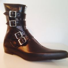 Pike 4 Buckle Winklepicker Boots in Black by TheGothicShoeCo