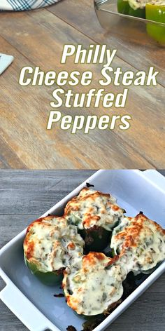 PHILLY CHEESE STEAK STUFFED PEPPERS A fun and delicious twist on traditional stuffed peppers, using sliced roast beef, onions, peppers, mushrooms and cheese. Your favorite sandwich turned stuffed pepper – a scrumptious low-carb meal! Philly Stuffed Peppers, Easy Stuffed Peppers, Cheesesteak Stuffed Peppers, Cheesesteak Recipe, Cheese Stuffed Peppers, Stuffed Mushrooms, Philly Cheese Steaks, Steak Sandwich Recipes, Roast Beef Recipes