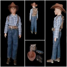 Ken's cowboy outfit Cowboystyle jeans shirt and hat   Etsy