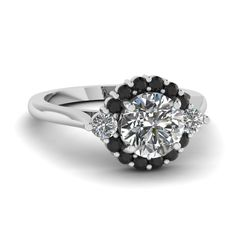 Floating Prong Round Halo Women Wedding Rings with Black Diamond in 18K White Gold exclusively styled by Fascinating Diamonds