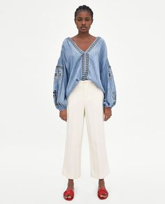 EMBROIDERED DENIM TOP-BEST SELLERS-WOMAN | ZARA Canada